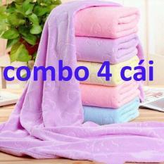 Bộ 4 Khăn tắm xuất Nhật dư, sợi lông siêu mền mịn, thấm nước tốt (kích thước 140cm* 70cm) giao nhiều màu khác nhau