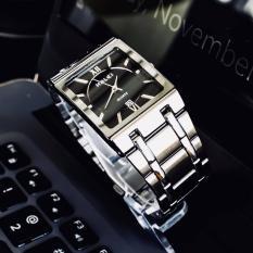 đồng hồ nam mặt vuông halei dây bạc mặt đen ,máy nhật,sành điệu .