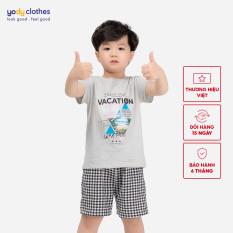 Áo kid vacation YODY áo thun không cổ họa tiết mát mẻ cho bé, chất liệu cotton mềm mại thấm hút tốt, giúp bé hoạt động thoải trong ngày hè KID4003