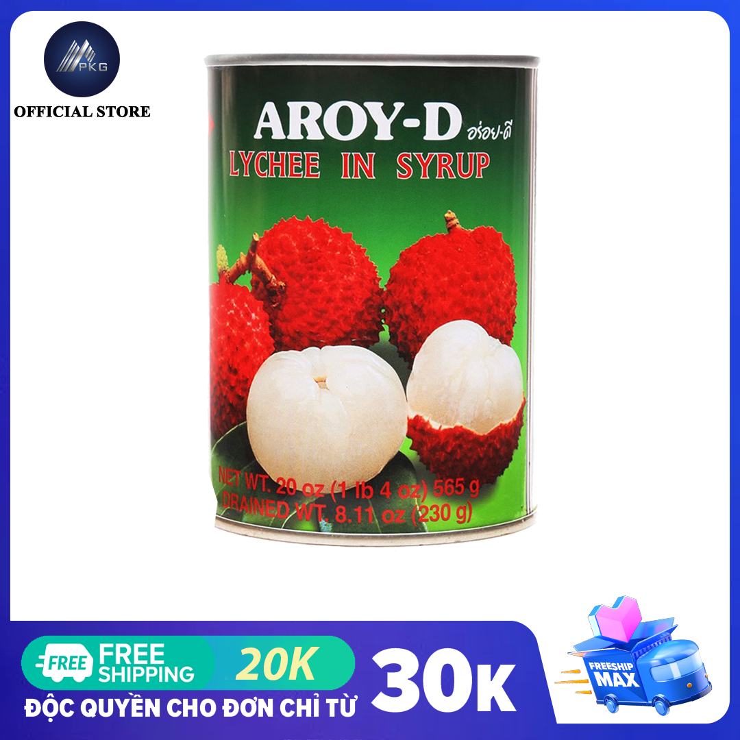 Trái vải ngâm nước đường Aroy-D 565g, thương hiệu Thái, hsd 36 tháng