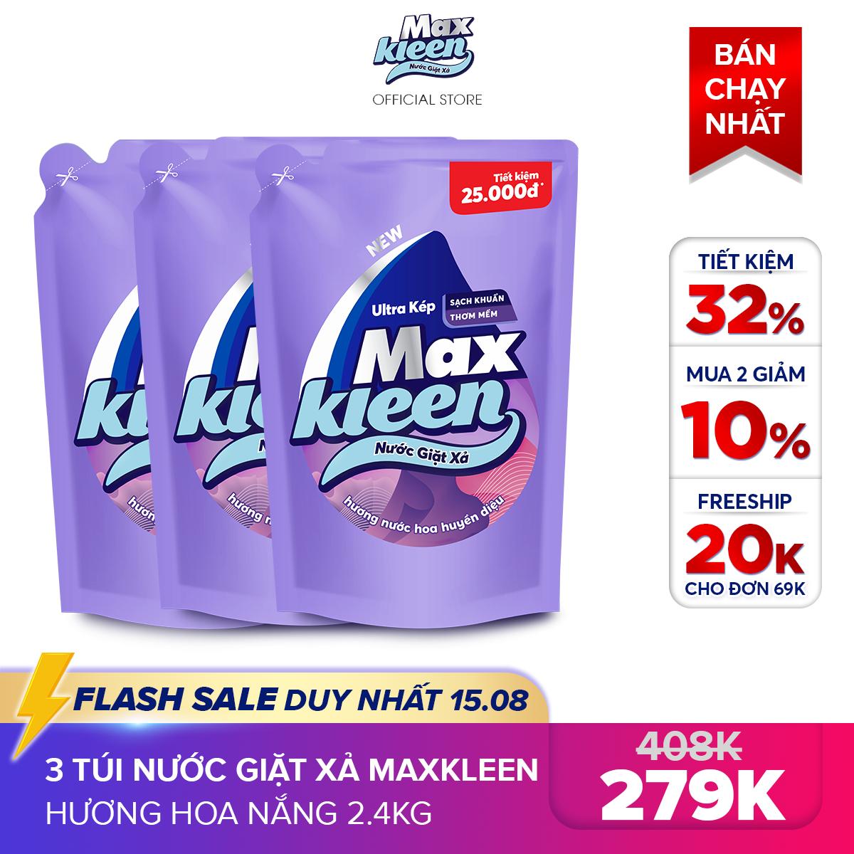 [MIỄN PHÍ VẬN CHUYỂN 20K + MUA 2 GIẢM 10%] Combo 3 Túi Nước Giặt Xả Maxkleen Hương Nước Hoa Huyền Diệu (2.4kg/túi)