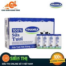 [Siêu thị Lazada] – Thùng 48 Hộp Sữa tươi tiệt trùng Vinamilk 100% Ít đường 180ml