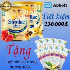 [Tặng 11 gói Similac mom 36,5g] Combo 2 lon sữa bầu Abbott Similac mom hương Dâu 400g & hương Vanilla 400g