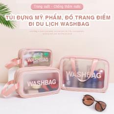 Túi đựng mỹ phẩm, đồ trang điểm đi du lịch washbag trong suốt, chống thấm nước HL8