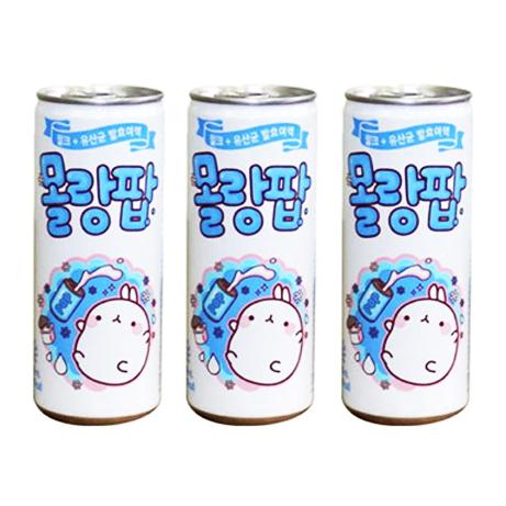 [ UỐNG NGON, TỐT SỨC KHOẺ ] Combo 03 Lon x 250ml Nước Soda Sữa Lợi Khuẩn Molang POP Hàn Quốc (Date:04/2021)
