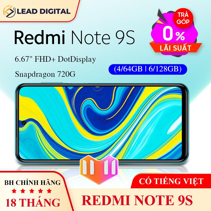 TRẢ GÓP 0% | [BẢN QUỐC TẾ] Điện thoại Xiaomi Redmi Note 9S 4G/64GB | 6GB/128GB – Snapdragon 8 nhân 720G, Màn hình 6.67 inches, Pin siêu khủng 5020mAh sạc nhanh 18W, 4 Camera 48MP/8MP/5MP/2MP góc siêu rộng – BH CHÍNH HÃNG 18 tháng