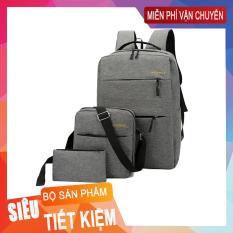 [COMBO BALO BÁN CHẠY ] Balo đi học ,đi làm Laptop 15,6inch + Túi đeo chéo ipad + Bóp bút vải bố xước cao cấp Manzo BL010 ( ĐỆM DÀY )