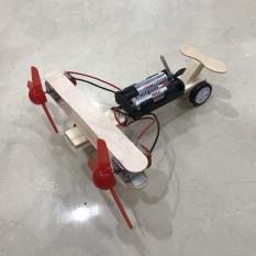 [Hàng chất lượng] – Đồ chơi phát triển trí tuệ trẻ em – Máy bay gỗ lắp ghép có thể chạy nhờ 2 cánh quạt (có kèm pin)