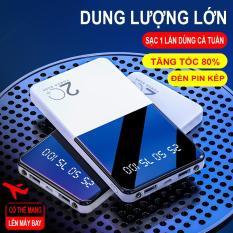 Pin Sạc Dự Phòng Chuẩn dung lượng 15000mah 20000mah siêu mỏng siêu nhẹ 2 cổng output, đèn pin kép siêu sáng sac du phong sạc nhanh kiểu dáng đẹp T109