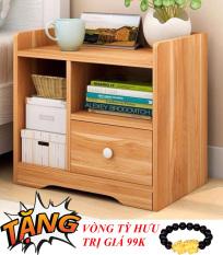 Tủ gỗ đầu giường 1 ngăn kéo, táp để đầu giường, kệ đầu giường tiện ích gia đình , nhỏ gọn dễ lắp , Tặng vòng tỳ hưu phong thủy trị giá 99k