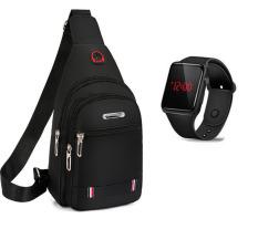 Túi đeo chéo nam có lỗ sạc , tai nghe DB1571 Tặng đồng hồ led sang trọng
