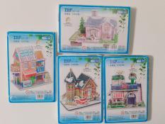 Combo 4 mô hình xếp hình 3D bằng giấy Ngôi nhà tuyết, Ông già noel, Ngôi nhà hoa, Tiệm kem