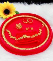 Set bộ trang sức cưới mạ vàng 24k có hộp đựng y hình