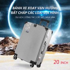 Vali du lịch vali xách tay kim loại 20inch/24inch hợp kim nhôm có mã số 4 bánh xe tay kéo dày hơn vali màu bạc hot trên mạng vali phong cách retro màu trơn Keep Going Max