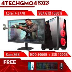 Máy Tính Chơi Game 4TechGM04 – 2019 Core i7-3770, Ram 8GB, HDD 500GB + SSD 120GB, VGA GTX 1050Ti, Màn hình 19.5 inch – Tặng Bộ Phím Chuột Gaming DareU.