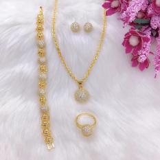 [RẺ VÔ ĐỊCH] Bộ trang sức nữ mạ vàng 18k, bộ trang sức bi châu xỏ đính đá pha lêsáng lấp lánh không phai màu thiết kế sang trọng quý phái Trang Sức Gadoshop VB408091901 – Đeo đi làm đi đám cưới sang trọng
