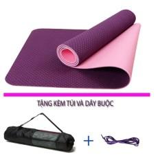 Thảm tập yoga 2 lớp TPE cao cấp tặng kèm túi đựng thảm và dây buộc thảm