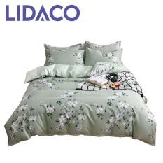 [LIDACO] Bộ chăn ga gối cotton PL1 Hoa dây xanh SP000979, vải cotton mềm mại, set 4 món bao gồm vỏ chăn ga gối