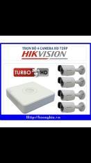 Trọn Bộ 4 Camera Hikvision DS-2CE16C0T-IRP Đầu Ghi 4 Kênh 7104HGHI-F1