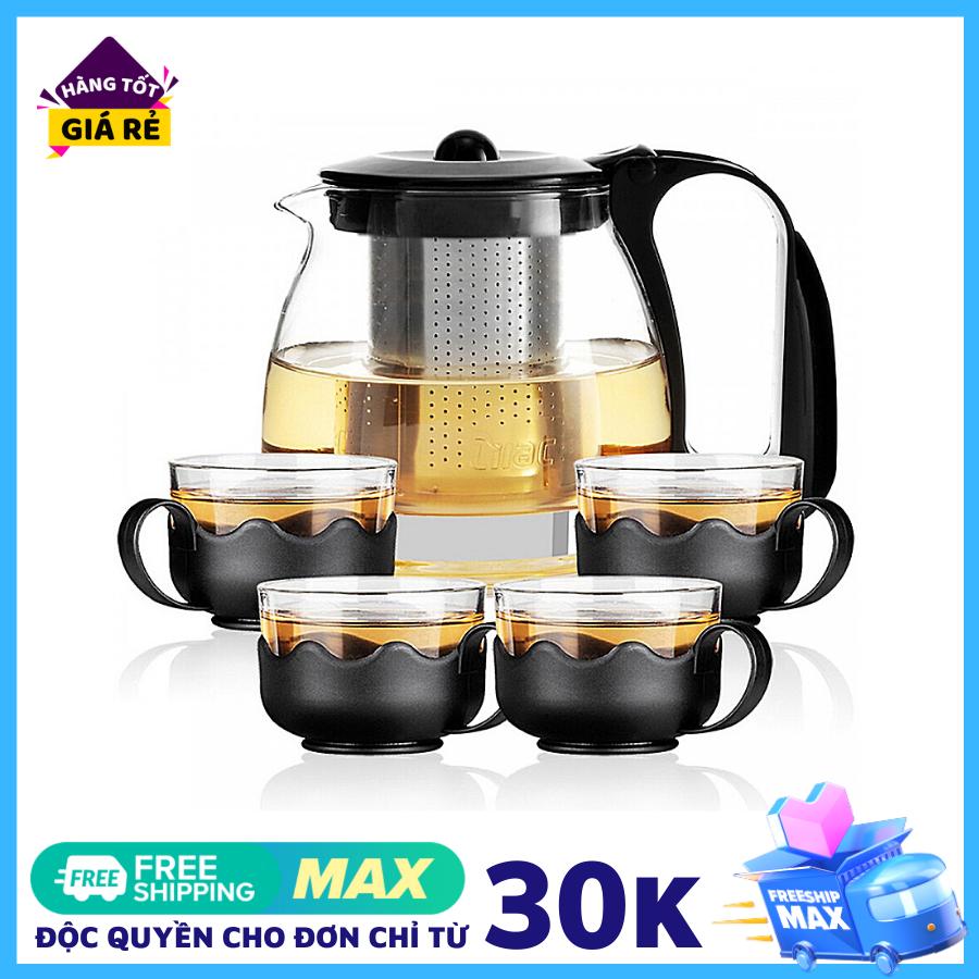 Bình trà – Bộ ấm trà thuỷ tinh có túi lọc INOX dung tích 1000ML + tặng kèm 4 LY THUỶ TINH dung tích 300ML – Ấm pha trà thuỷ tinh, ấm pha trà độc lạ, ấm trà lọc, trà sữa