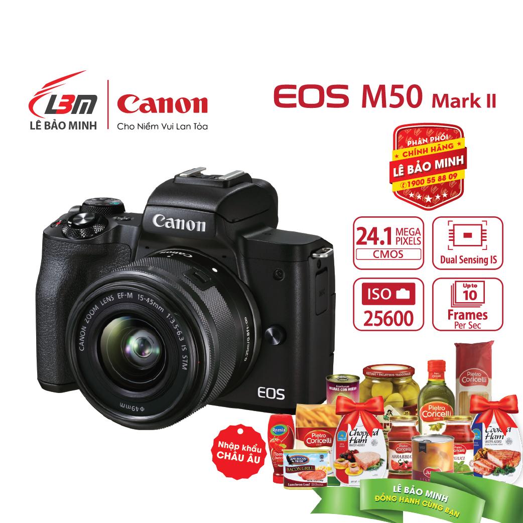 [voucher 9%]Máy ảnh Canon EOS M50 Mark II EF-M15-45mm F/3.5-6.3 IS STM – Chính Hãng Lê Bảo Minh
