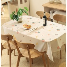 Khăn trải bàn ăn không thấm nước mẫu ô vuông trắng TRÁI CÁY nền kem