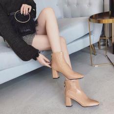 Giày boot nữ da đế cao khoá sau – Bốt nữ cao gót 7p 7 phân màu trắng đen nâu thời trang hàn quốc đi học đi làm quyến rũ hot 2020