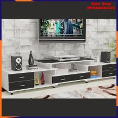 Kệ Tivi bằng gỗ lắp ghép 2 tầng 9 ngăn thiết kế hiện đại, tiện lợi, có thể thu gọn, mặt kính cường lực