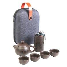 [ Mẫu mỚI in Chữ] Bộ bình trà KHẮC CHỮ TRỰC TIẾP lên Ấm có túi đựng đi du lịch + Tặng Kèm Khăn Lau Cao Cấp