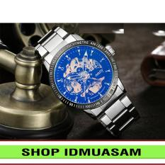 [Có video quay thật] Đồng hồ cơ tự động dây thép không gỉ Nary IDMUASAM 6093 (Mặt đen ánh xanh)