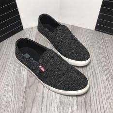 Giày lười nam vải mềm thời trang Bi Shop (Đen & Xám nhạt)