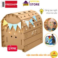 Nhà giấy lắp ghép được Freeship 60K + 1 quà- Lều giấy hoàng tử công chúa bằng bìa carton, Nhà giấy carton lắp ráp cho bé, nhà lắp ghép thông minh 3 lớp chắc chắn an toàn, siêu bền cho bé thỏa sức vui chơi