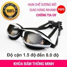 Kính bơi cận độ cận từ 1.5 đến 8.0 POPO GOG kính bơi có độ cho người lớn (nam, nữ) và trẻ em từ 8 tuổi, mắt kính tráng gương, chống UV, chống hấp hơi; khóa đeo kính thông minh