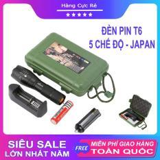 Đèn pin siêu sáng 5 chế độ, chiếu xa trăm mét – Bộ sản phẩm gồm 1 đèn pin led mini cầm tay XML-T6, 1 pin sạc, 1 bộ sạc, 1 dụng cụ xài pin AAA, 1 đồ bảo vệ pin, 1 hộp đựng – Shop Hàng Cực Rẻ