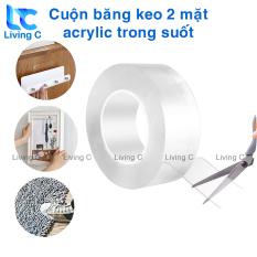 Cuộn băng keo siêu dính 2 mặt acrylic Living C CBK, keo dán tường trong suốt siêu dính chịu lưc chống thấm