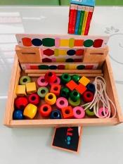Bộ đồ chơi xâu hạt gỗ cho bé | Bộ xâu chuỗi hạt bằng gỗ | Bộ xếp hạt gỗ xỏ xâu hình khối nhiều màu sắc | Đồ chơi gỗ Việt Nam