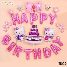 Set bóng trang trí sinh nhật kitty tặng bơm
