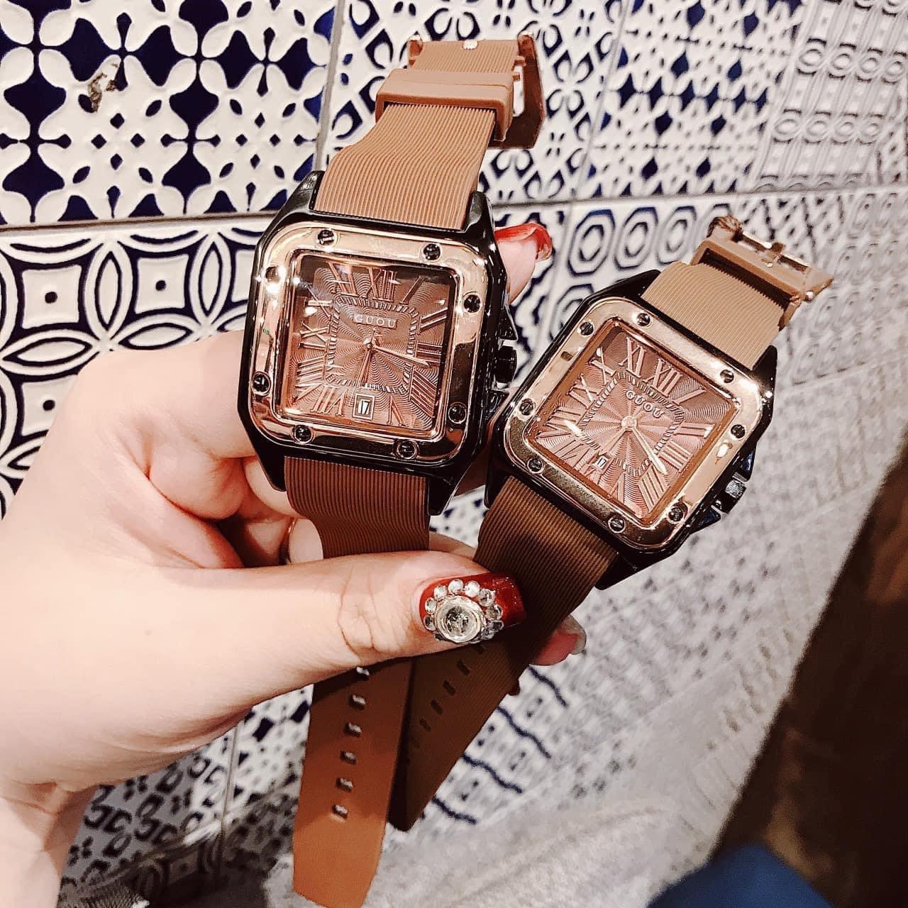 HÀNG MỚI VỀ -Cực Phẩm Phái Nữ Đồng hồ Nữ GUOU Dây Silicon Mềm Mại đeo rất êm tay -...