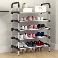 Giá giày 5 tầng 4 ngăn, kệ sách, tủ sách, kệ đa năng, Kệ để giày dép 5 tầng khung inox,giá để giày inox 5 tầng (Màu ngẫu nhiên)