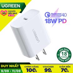 Sạc UGREEN USB-C PD 18W hỗ trợ sạc nhanh PD 18W cho iPhone 11 Pro Max/ iPhone 11 Pro / iPhone Xs Max, sạc nhanh Quick Charge 4.0, 3.0 cho Samsung / Android CD137 60449 – Bảo hành 24 tháng 1 đổi 1