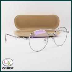 Gọng kính cận nam nữ mắt tròn kim loại màu đen, bạc, vàng hồng 2999. Tròng/mắt kính giả cận 0 độ chống ánh sáng xanh, chống tia UV