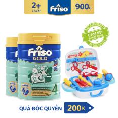 [Freeship toàn quốc] Bộ 2 Sữa bột Friso Gold 4 900g cho trẻ từ 2-4 tuổi + Tặng Bộ đồ chơi Bác sĩ trị giá 200K – HSD 10/2022