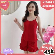 Đồ bộ nữ ngủ mặc nhà mùa hè lụa 2 dây quần đùi viền bèo dây áo dễ dàng điều chỉnh 4 màu đỏ, hồng, xanh ngọc, xanh coban Hàng thiết kế Vingo VNGO N248