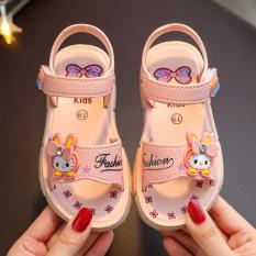 Giày tập đi chống nước cao su mềm quai dán êm chân cho bé gái đến trường hình thỏ con cute-CHÚ Ý SIZE