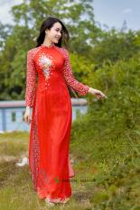 Bộ áo dài truyền thống hoa nhí đỏ họa tiết hoa tay HT01 (cổ 2cm tay dài)