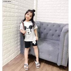 Quần áo trẻ em, Bộ quần áo bé gái, đồ bộ bé gái, bộ bé gái size đại, bộ lửng bé gái, bộ bé gái 6 tuổi đến 9 tuổi thun cotton tici (màu trắng, màu hồng) [Chuột Lắc store]