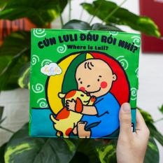 Sách vải cho bé, đồ chơi giáo dục sớm, Made in Việt Nam, Lalala baby. Phát triển trí não, đa giác quan, Cuốn Cún Luli đâu rồi nhỉ? Kích thước lớn 18x18cm, 12 trang.