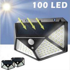 Đèn năng lượng mặt trời 100 LED siêu sáng, 3 chế độ sáng, cảm biến chuyển động, tự động bật tắt khi
