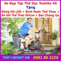 Xe đạp tập thể dục Toshiko X8 – xe đạp tập thể dục toshiko x8 – xe đạp tập thể dục toshiko x8 tặng bình nước + bó gối + đai chống gù – bảo hành 36 tháng