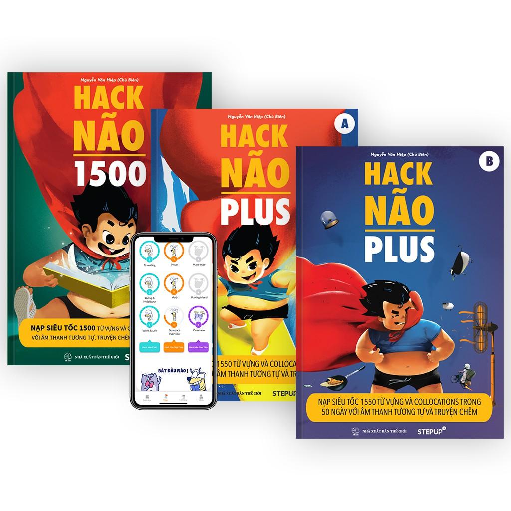Combo 3 sách Hack Não 1500 và Hack Não Plus A, B + Tặng App học phát âm miễn phí